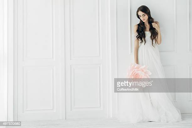 studio shot of young beautiful bride - wedding role stock photos and pictures