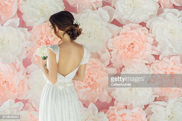 studio shot of young beautiful bride - pink dress stock photos and pictures