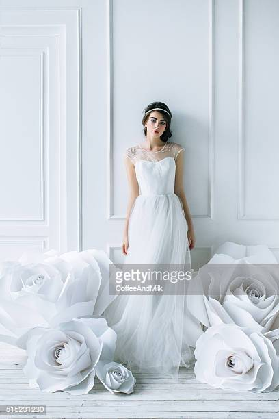 studio shot of young beautiful bride - bride stock pictures, royalty-free photos & images