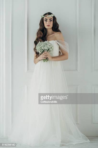 Prise de vue en Studio de jeune Belle mariée