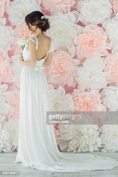 studio shot of young beautiful bride - wedding dress stock pictures, royalty-free photos & images