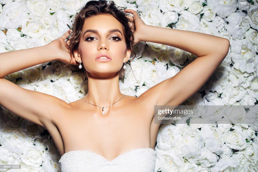 Studio shot of young beautiful bride : Stock Photo
