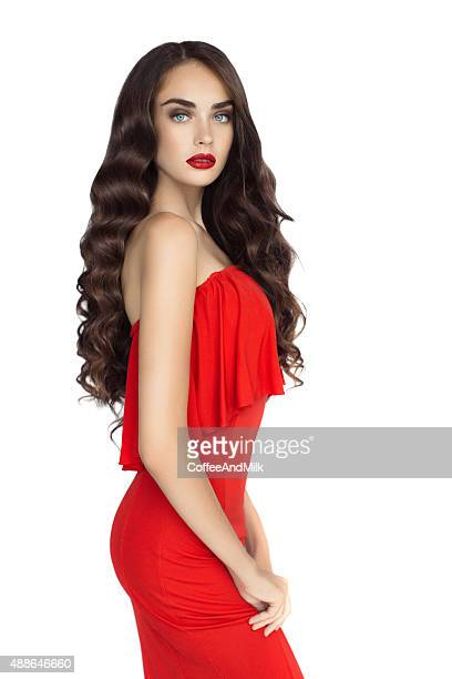 studio shot of young beautiful woman on white background - cut out dress stock pictures, royalty-free photos & images
