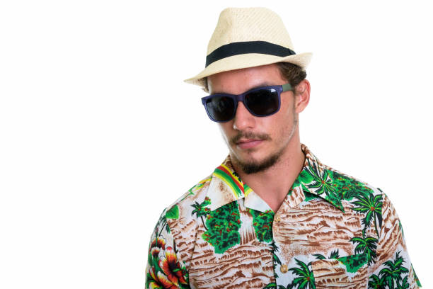 c9182a551 ... background · Young African tourist man wearing hat and Hawaiian shirt  against white background · Portrait of bearded man with mustache and long  hair ...