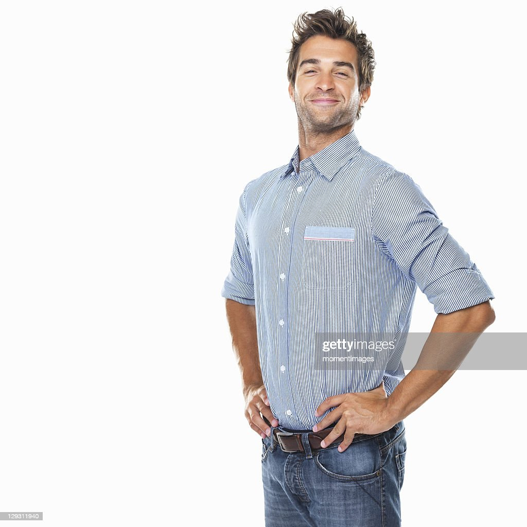 Studio shot of young pride man with hands on hips : Stock Photo