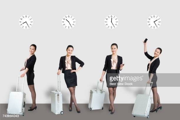Studio shot of young white woman Business Travel