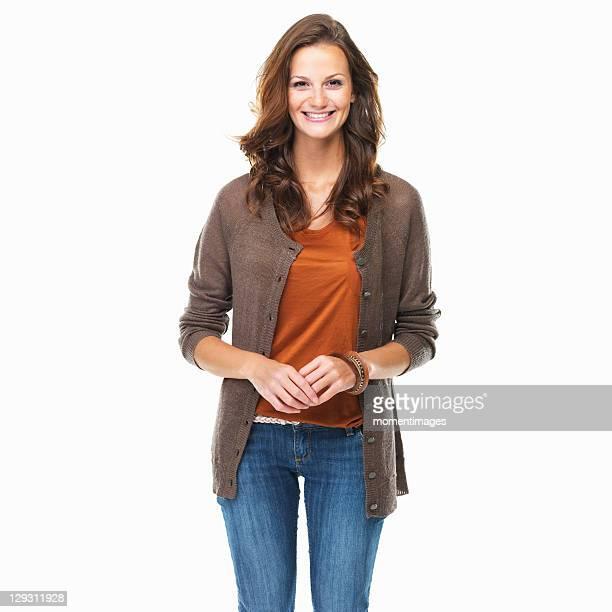 Studio shot of young woman smiling