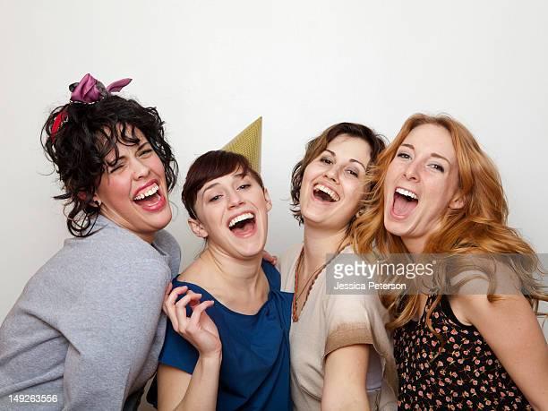 Studio Shot of young women singing