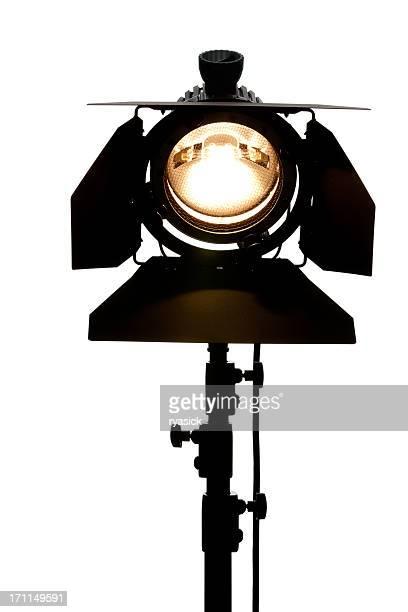 studio local, equipamento de iluminação em ângulo baixo isolada no branco - spotlight filme - fotografias e filmes do acervo