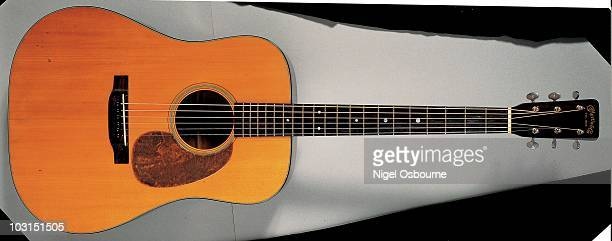 Studio still life of a 1939 Martin D18 acoustic guitar photographed in the United Kingdom