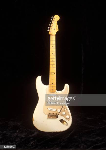 Studio still life of a 1954 Fender Stratocaster guitar serial number 0001 owned by David Gilmour of Pink Floyd