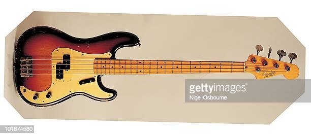 Studio still life of a 1957 Fender Precision Bass guitar photographed in the United Kingdom