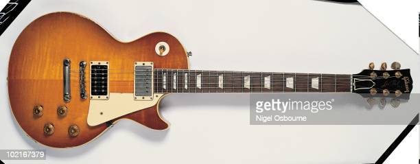 Studio still life of a 1958 Gibson Les Paul Standard owned by Jimmy Page photographed in the United Kingdom