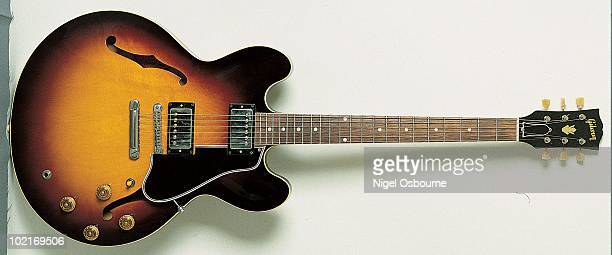 Studio still life of a 1959 Gibson ES335 guitar photographed in the United Kingdom