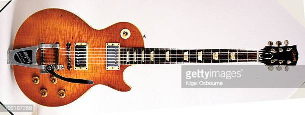 Studio still life of a 1959 Gibson Les Paul Standard guitar fitted with a Bigsby Vibrato photographed in the United Kingdom