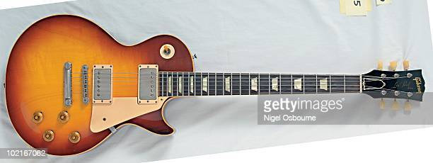 Studio still life of a 1959 Gibson Les Paul Standard guitar photographed in the United Kingdom