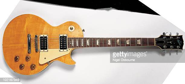 Studio still life of a 1959 Gibson Les Paul Standard guitar owned by Jeff Beck photographed in the United Kingdom