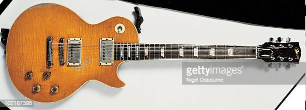 Studio still life of a 1959 Gibson Les Paul Standard guitar originally owned by Peter Green and later by Gary Moore photographed in the United Kingdom