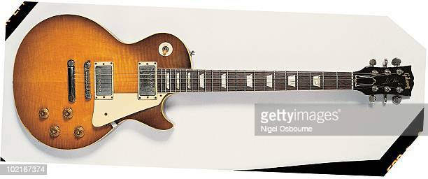 Studio still life of a 1959 Gibson Les Paul Standard owned by Jimmy Page photographed in the United Kingdom