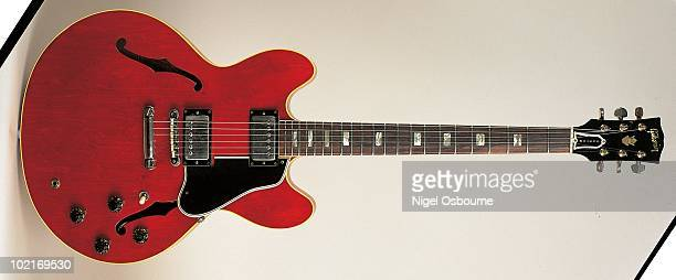 Studio still life of a 1964 Gibson ES335 TDC owned by Eric Clapton guitar photographed in the United Kingdom