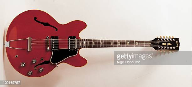 Studio still life of a 1965 Gibson ES335 12 String electric guitar photographed in the United Kingdom