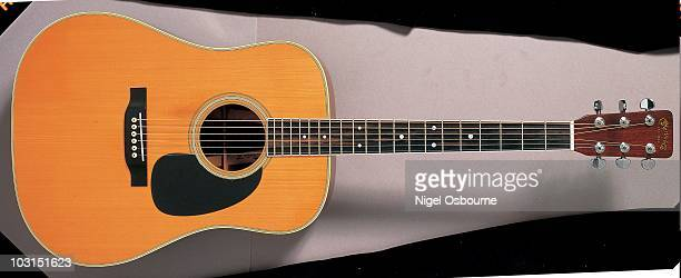 Studio still life of a 1965 Martin D35 acoustic guitar photographed in the United Kingdom