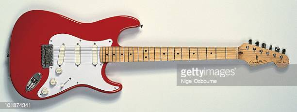 Studio still life of a 1988 Eric Clapton Fender Stratocaster guitar first version photographed in the United Kingdom