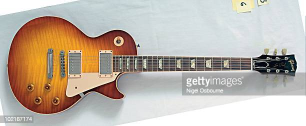 Studio still life of a 1999 Gibson Les Paul Historic 1959 Reissue 40th Anniversary guitar photographed in the United Kingdom