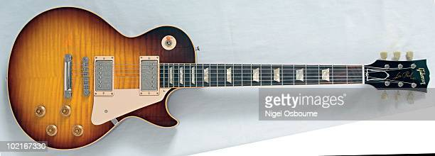 Studio still life of a 2003 Gibson Les Paul Historic 1959 Reissue guitar photographed in the United Kingdom