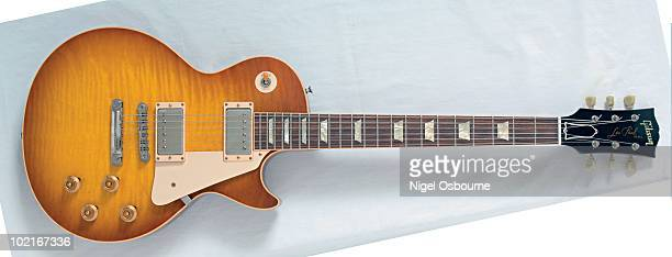 Studio still life of a 2006 Gibson Les Paul Historic 1959 Reissue VOS guitar photographed in the United Kingdom