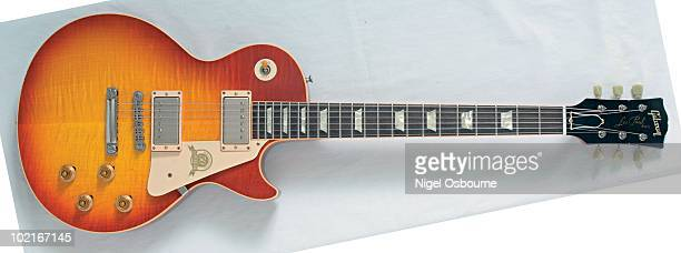 Studio still life of a 2008 Gibson Les Paul 1958 Reissue Aged 50th Anniversary guitar photographed in the United Kingdom