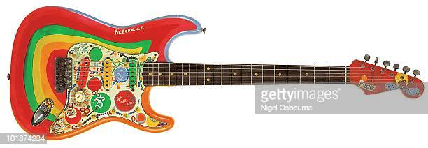 Studio still life of a George Harrison's 1964 Fender Stratocaster guitar 'Rocky' photographed in the United Kingdom