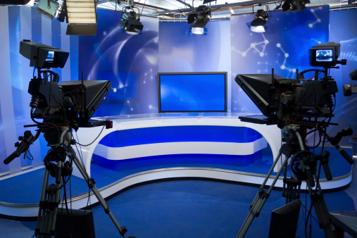 TV studio with camera and lights 154451446