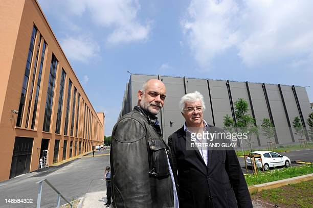 Studios de Paris' Commercial director Pascal Becu and CEO Didier Diaz pose in front of their new studios in La Cite Europeenne du Cinema on June 20...