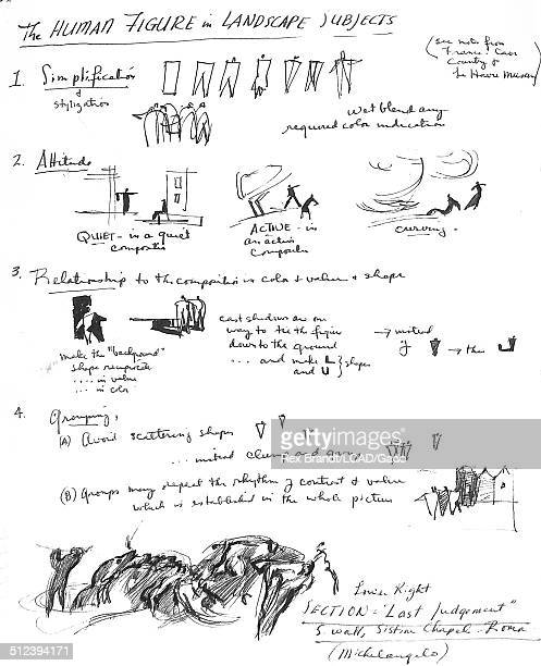Study entitled 'The Human Figure in Landscape Subjects' features notes and several sketches 1965 Brandt was a cubist and member of the California...