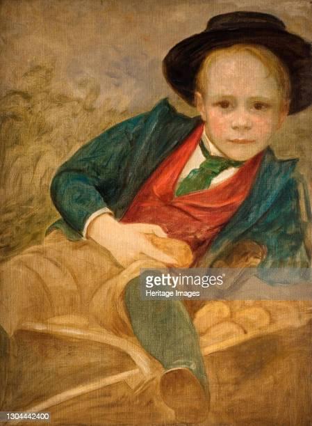 Study For A Boy Sitting On A Wheelbarrow, 1890. Artist Louisa Starr.