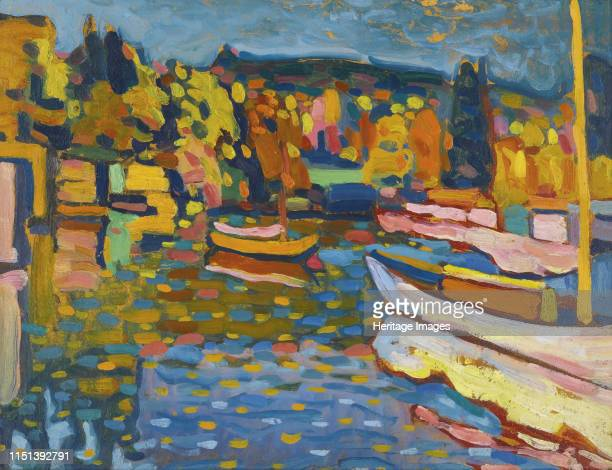 Study for autumn landscape with boats Private Collection Artist Kandinsky Wassily Vasilyevich