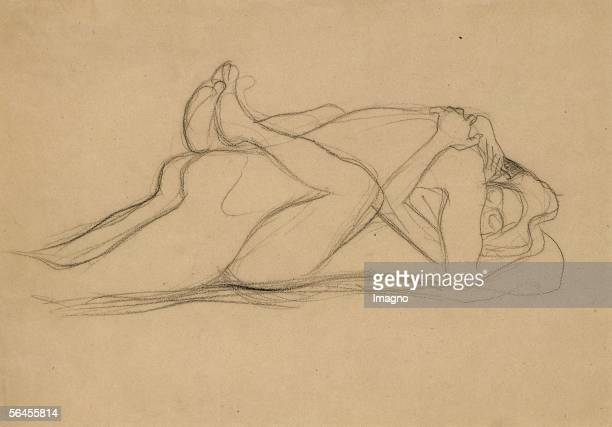 Study for Beethoven Frieze black crayon 1902 [Studie fuer figurale Kompositionen des Beethovenfrieses schwarze Kreide 1902]