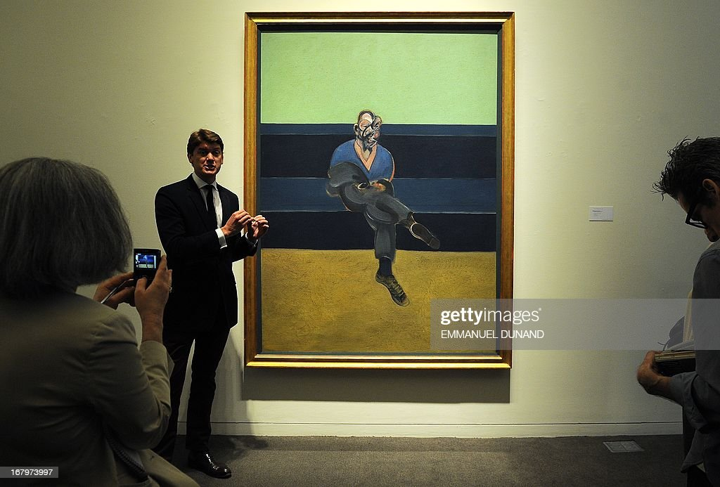 'Study for Portrait of P.L.' by Francis Bacon is on display during a preview of Sotheby's Impressionist and Modern Art sales in New York, May 3, 2013. Sotheby's is scheduled to hold its Impressionist and Modern Art sales May 7, 2013. AFP PHOTO/Emmanuel Dunand ++RESTRICTED