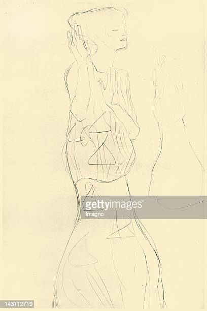 Study for the composition Die Erwartung , also Die Tänzerin . Stocletfries. Around 1907/08. Pencil.