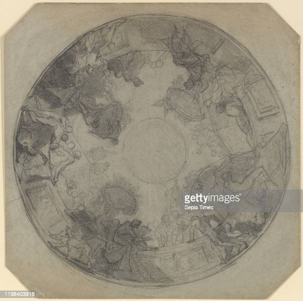 Study for the decoration of the ceiling of the Opera Comique ca 1857 Black chalk on blue paper mounted on cardboard Sheet with canted corners 17 3/16...