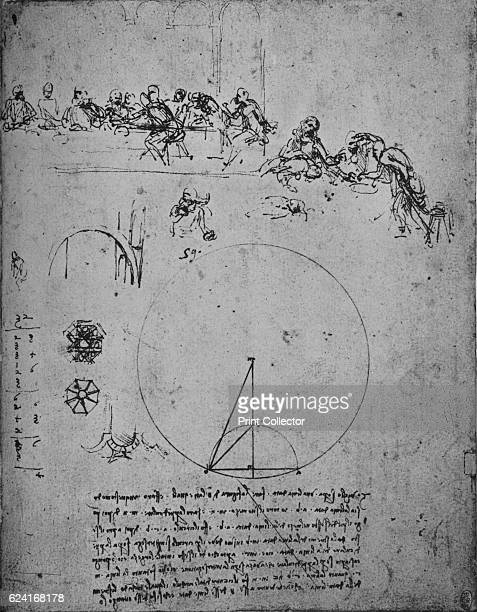 Study for the Last Super and Mathematical Figures and Calculations' c1480 From The Drawings of Leonardo da Vinci [Reynal Hitchcock New York 1945]...