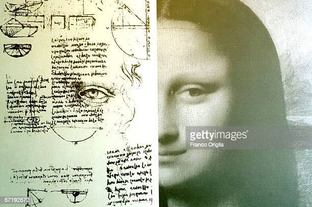 A study for the Mona Lisa's eyes of Leonardo is seen at the Leonardo Da Vinci exibition vernissage at the Uffizi Gallery on March 27 2006 in Florence...