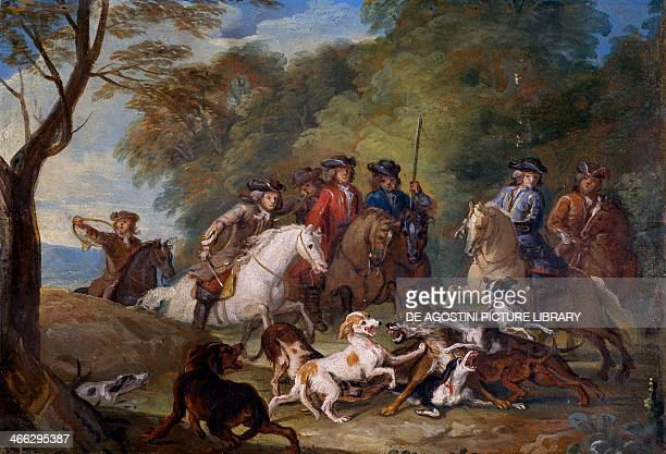 Study for The Wolf Hunt 17201723 by Alexandre Francois Desportes oil on board 27x39 cm