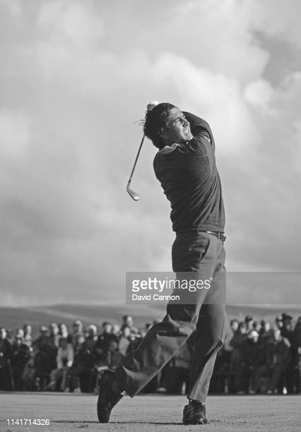 A study in black and white of Seve Ballesteros of Spain as he strikes with an iron off the fairway during the 120th Open Championship on 20 July 1991...