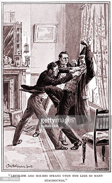 A Study in Scarlet by Sir Arthur Conan Doyle Sherlock Holmes and police detective Lestrade arresting Jefferson Hope the murderer of Enoch Drebber...