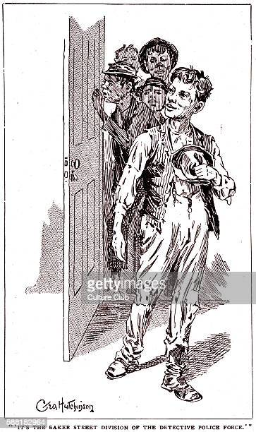 A Study in Scarlet by Sir Arthur Conan Doyle the young boys who collect information for Sherlock Holmes Chapter VI Caption reads Its the Baker Street...