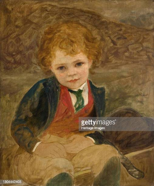 Study Of A Boy Sitting In A Wheelbarrow, 1890. Artist Louisa Starr.