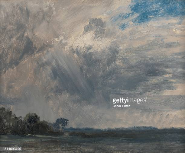 Study of a Cloudy Sky, John Constable, 1776–1837, British, ca. 1825, Oil on paper on millboard, Support : 10 3/8 x 13 inches , blue, brown,...