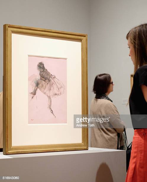 Study of a Dancer by Edgar Degas is seen on display during the Edgar Degas A Strange New Beauty exhibition press preview at Museum of Modern Art on...